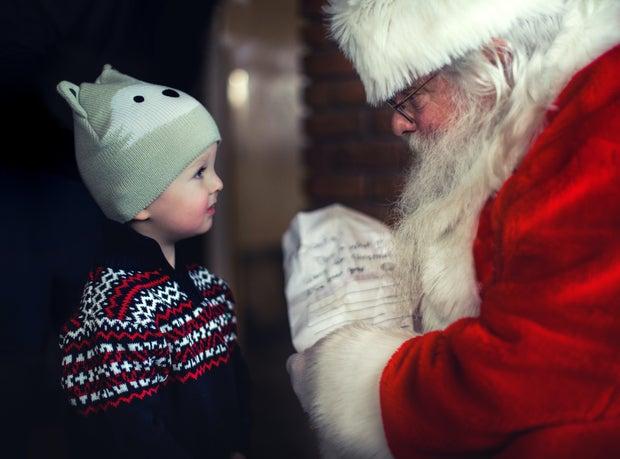 Santa and young boy