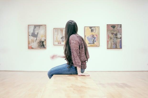 Woman at art museum