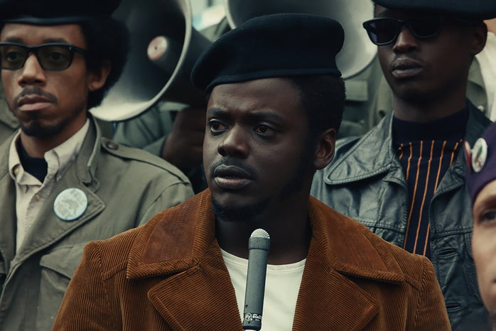 """Caption: (Top l-r) DARRELL BRITT-GIBSON as Bobby Rush, DANIEL KALUUYA as Chairman Fred Hampton and ASHTON SANDERS as Jimmy Palmer in Warner Bros. Pictures' """"JUDAS AND THE BLACK MESSIAH,"""" a Warner Bros. Pictures release."""