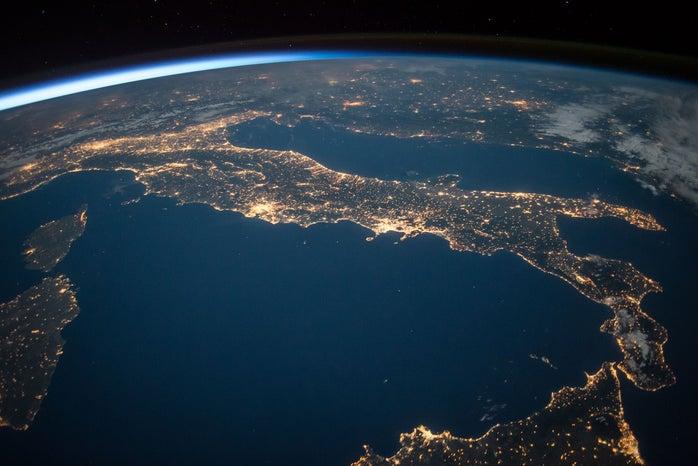 The Earth full of little lights on