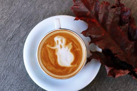 halloween ghost latte art