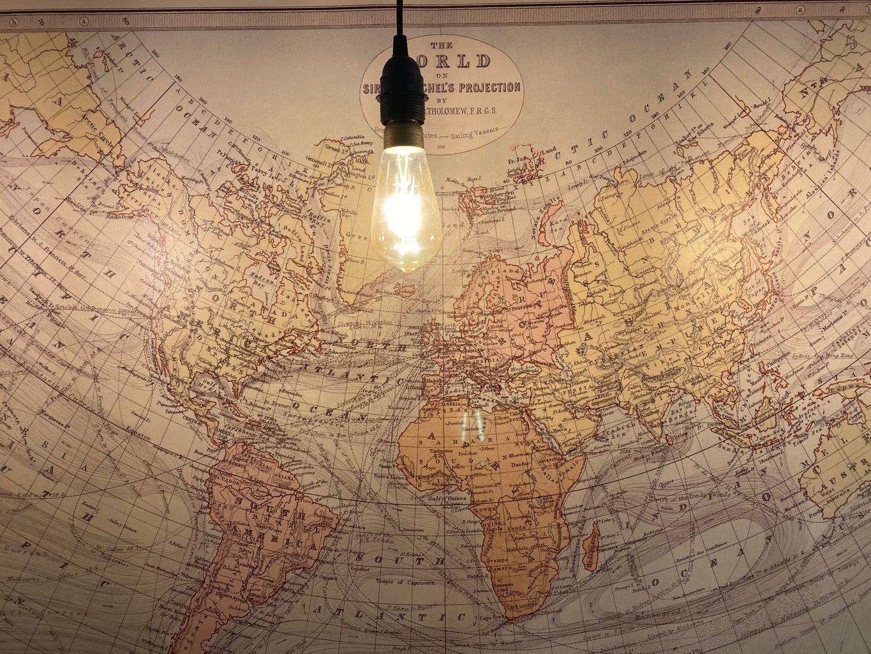 World map in IKEA under a light bulb