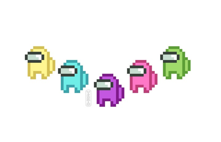 Among Us videogame character pixel art