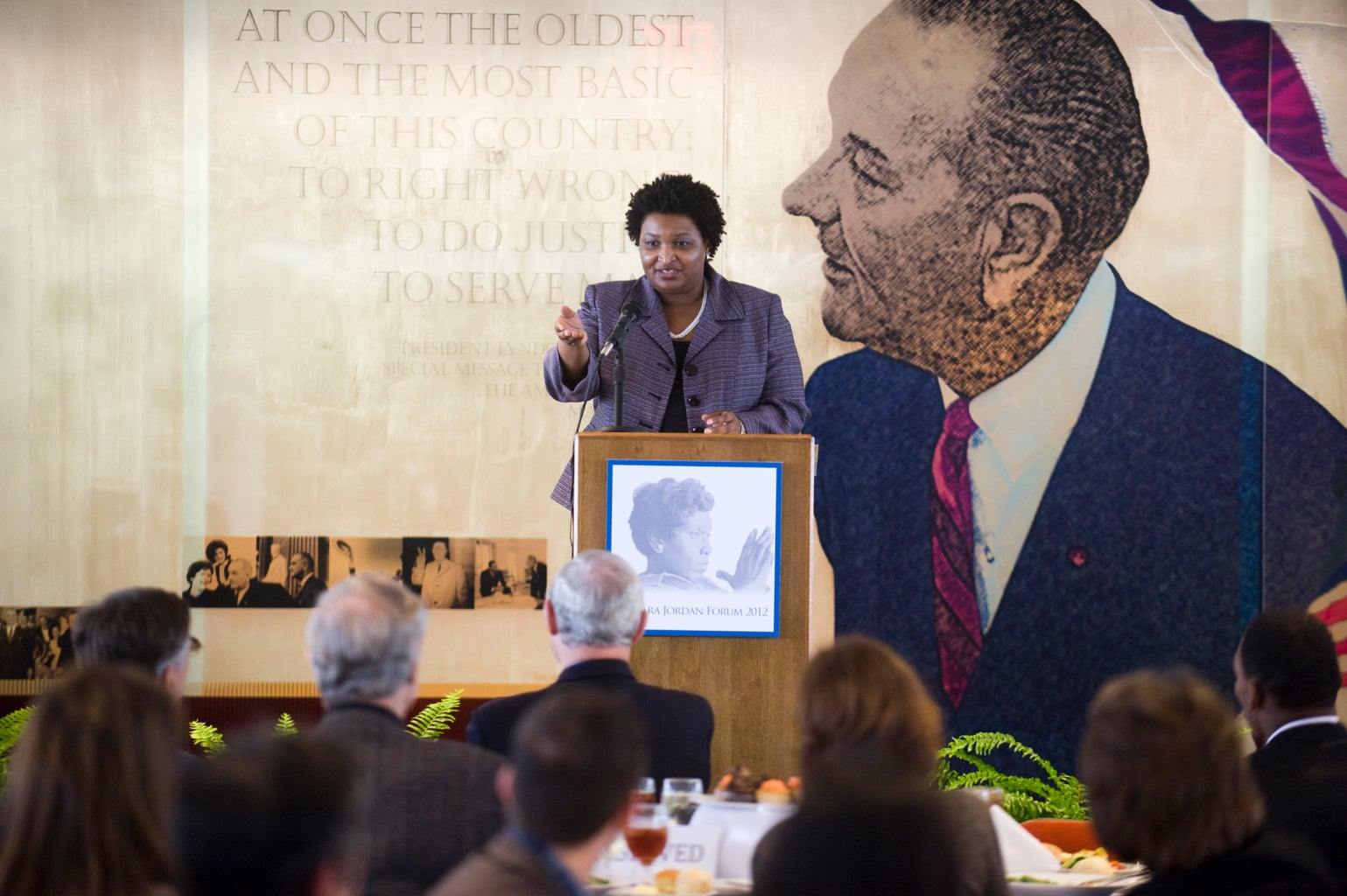 Stacey Abrams speaking at an event