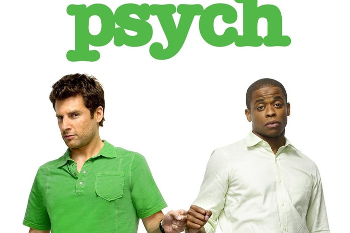 """A logo of the show \""""Psych\"""" with the two main characters."""