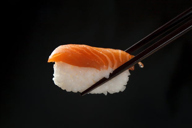 sushi nigiri black background