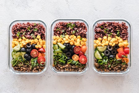 Three pre-made meals in containers