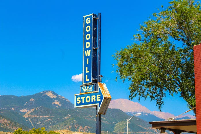 """A commercial sign displaying \""""Goodwill\"""""""