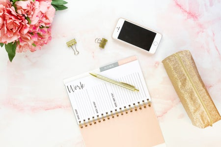 pink flatlay workspace