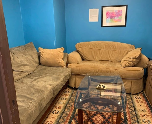 Brown couches with blue wall (Leaves & Beans 2)