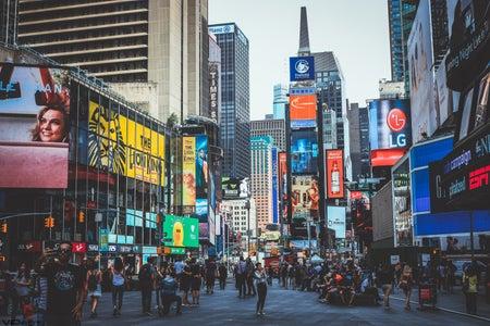 people walking around New York City