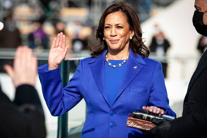 Kamala Harris taking oath of office for vice president at the 2021 presidential inauguration