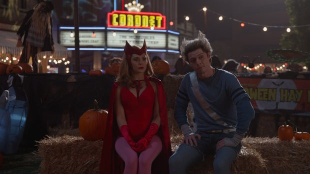 Wanda and Pietro Maximoff in costume in Wandavision