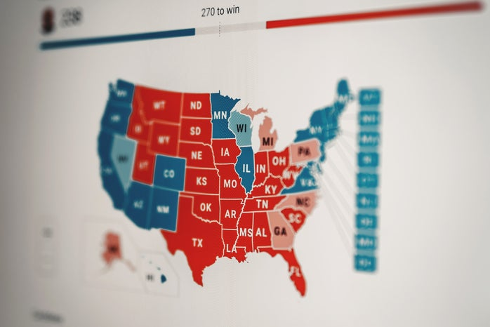 map of the United States with the states colored red or blue based on their votes