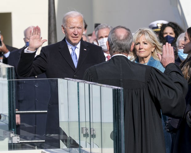 Joe Biden swears in as president during the 2021 inauguration