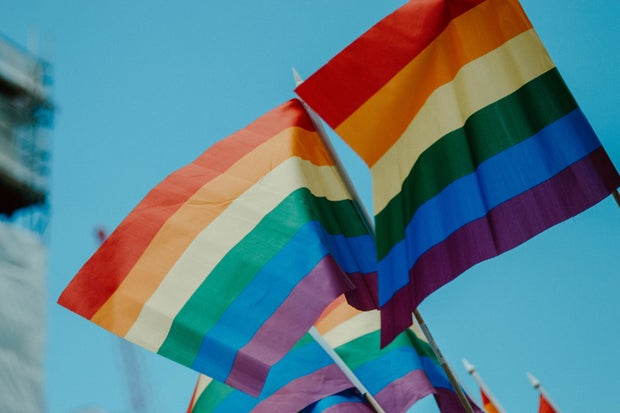 LGBT flags flying at a Pride march