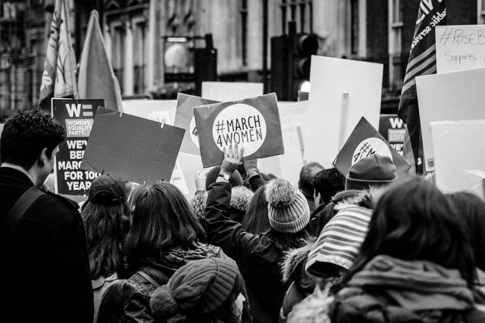 Black and white women\'s march photo