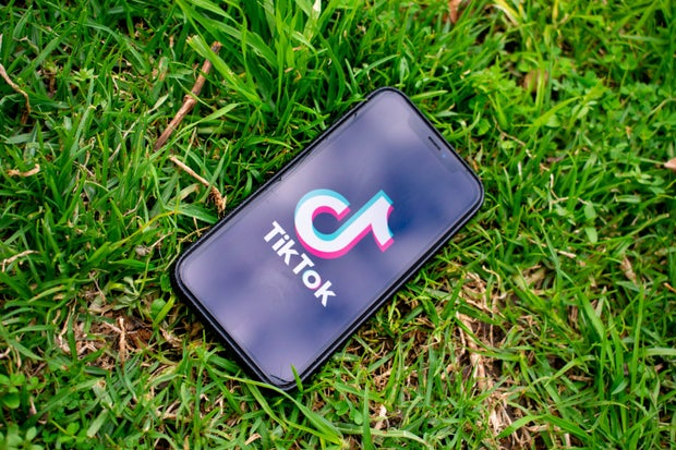 phone with tiktok logo on the grass