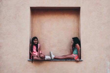 Two Friends Sitting on Wall Shelf