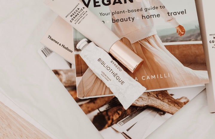 vegan beauty products and magazine