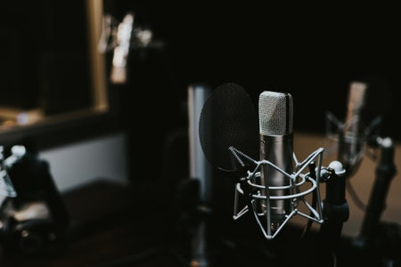 Condenser microphone in a studio