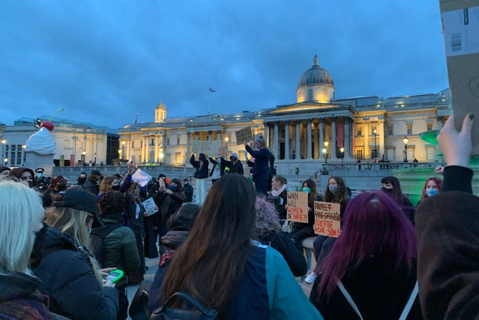 people at London women\'s rights\' protests